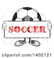 Clipart Of A Cartoon Faceless Soccer Ball Mascot Character Holding A Sign Royalty Free Vector Illustration by Hit Toon