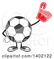 Clipart Of A Cartoon Faceless Soccer Ball Mascot Character Wearing A Foam Finger Royalty Free Vector Illustration by Hit Toon