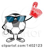 Clipart Of A Cartoon Faceless Soccer Ball Mascot Character Wearing Sunglasses And A Foam Finger Royalty Free Vector Illustration by Hit Toon