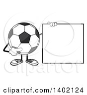 Clipart Of A Cartoon Faceless Soccer Ball Mascot Character Pointing To A Blank Sign Royalty Free Vector Illustration by Hit Toon