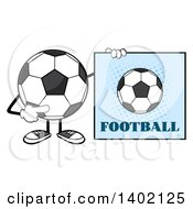Clipart Of A Cartoon Faceless Soccer Ball Mascot Character Pointing To A Football Sign Royalty Free Vector Illustration by Hit Toon