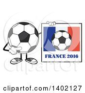 Clipart Of A Cartoon Faceless Soccer Ball Mascot Character Holding A France 2016 Sign Royalty Free Vector Illustration