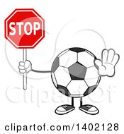 Clipart Of A Cartoon Faceless Soccer Ball Mascot Character Holding A Stop Sign Royalty Free Vector Illustration by Hit Toon
