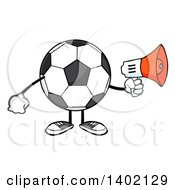 Clipart Of A Cartoon Faceless Soccer Ball Mascot Character Using A Megaphone Royalty Free Vector Illustration