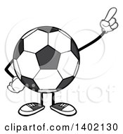 Clipart Of A Cartoon Faceless Soccer Ball Mascot Character Pointing Or Holding Up A Finger Royalty Free Vector Illustration by Hit Toon
