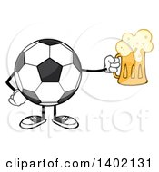 Clipart Of A Cartoon Faceless Soccer Ball Mascot Character Holding A Beer Mug Royalty Free Vector Illustration by Hit Toon