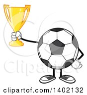 Clipart Of A Cartoon Faceless Soccer Ball Mascot Character Holding A Trophy Royalty Free Vector Illustration by Hit Toon