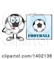 Clipart Of A Cartoon Soccer Ball Mascot Character Pointing To A Football Sign Royalty Free Vector Illustration by Hit Toon