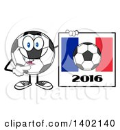 Clipart Of A Cartoon Soccer Ball Mascot Character Pointing To A France 2016 Sign Royalty Free Vector Illustration