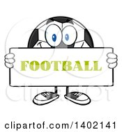 Clipart Of A Cartoon Soccer Ball Mascot Character Holding A Football Sign Royalty Free Vector Illustration by Hit Toon