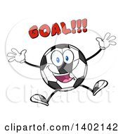 Clipart Of A Cartoon Soccer Ball Mascot Character Jumping Under Goal Text Royalty Free Vector Illustration