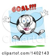 Clipart Of A Cartoon Soccer Ball Mascot Character Jumping Under Goal Text Over Blue Royalty Free Vector Illustration