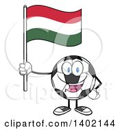 Clipart Of A Cartoon Soccer Ball Mascot Character Holding A Hungarian Flag Royalty Free Vector Illustration