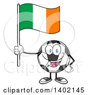 Clipart Of A Cartoon Soccer Ball Mascot Character Holding An Irish Flag Royalty Free Vector Illustration