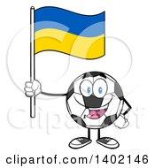 Clipart Of A Cartoon Soccer Ball Mascot Character Holding A Ukrainian Flag Royalty Free Vector Illustration