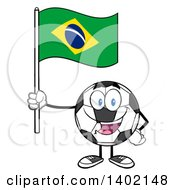 Clipart Of A Cartoon Soccer Ball Mascot Character Holding A Brazil Flag Royalty Free Vector Illustration