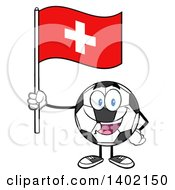Clipart Of A Cartoon Soccer Ball Mascot Character Holding A Swiss Flag Royalty Free Vector Illustration