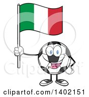 Clipart Of A Cartoon Soccer Ball Mascot Character Holding A Italian Flag Royalty Free Vector Illustration