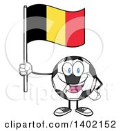 Clipart Of A Cartoon Soccer Ball Mascot Character Holding A Belgian Flag Royalty Free Vector Illustration