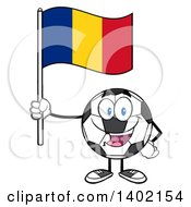 Clipart Of A Cartoon Soccer Ball Mascot Character Holding A Romanian Flag Royalty Free Vector Illustration