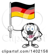 Clipart Of A Cartoon Soccer Ball Mascot Character Holding A German Flag Royalty Free Vector Illustration