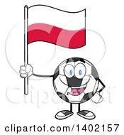 Clipart Of A Cartoon Soccer Ball Mascot Character Holding A Polish Flag Royalty Free Vector Illustration