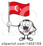 Clipart Of A Cartoon Soccer Ball Mascot Character Holding A Turkish Flag Royalty Free Vector Illustration by Hit Toon