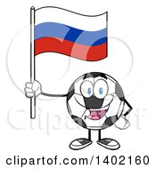 Clipart Of A Cartoon Soccer Ball Mascot Character Holding A Russian Flag Royalty Free Vector Illustration