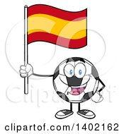 Clipart Of A Cartoon Soccer Ball Mascot Character Holding A Spanish Flag Royalty Free Vector Illustration