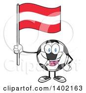 Clipart Of A Cartoon Soccer Ball Mascot Character Holding An Austrian Flag Royalty Free Vector Illustration