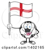 Clipart Of A Cartoon Soccer Ball Mascot Character Holding An English Flag Royalty Free Vector Illustration by Hit Toon