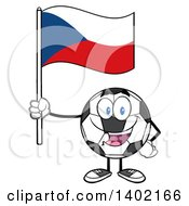Clipart Of A Cartoon Soccer Ball Mascot Character Holding A Czech Republic Flag Royalty Free Vector Illustration by Hit Toon