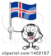 Clipart Of A Cartoon Soccer Ball Mascot Character Holding An Iceland Flag Royalty Free Vector Illustration by Hit Toon