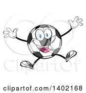 Clipart Of A Cartoon Soccer Ball Mascot Character Jumping Royalty Free Vector Illustration by Hit Toon
