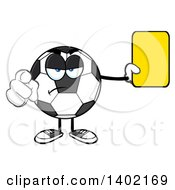 Cartoon Soccer Ball Mascot Character Referee Pointing And Holding A Yellow Card