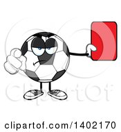 Cartoon Soccer Ball Mascot Character Referee Pointing And Holding A Red Card