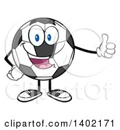 Clipart Of A Cartoon Soccer Ball Mascot Character Giving A Thumb Up Royalty Free Vector Illustration by Hit Toon