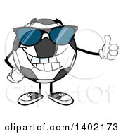 Clipart Of A Cartoon Soccer Ball Mascot Character Wearing Sunglasses And Giving A Thumb Up Royalty Free Vector Illustration by Hit Toon