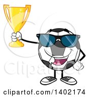 Clipart Of A Cartoon Soccer Ball Mascot Character Wearing Sunglasses And Holding A Trophy Royalty Free Vector Illustration by Hit Toon