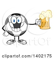 Clipart Of A Cartoon Soccer Ball Mascot Character Holding A Beer Mug Royalty Free Vector Illustration by Hit Toon