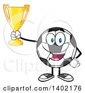 Clipart Of A Cartoon Soccer Ball Mascot Character Holding A Trophy Royalty Free Vector Illustration by Hit Toon