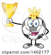 Clipart Of A Cartoon Soccer Ball Mascot Character Wearing A Crown And Holding A Trophy Royalty Free Vector Illustration by Hit Toon