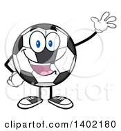 Clipart Of A Cartoon Soccer Ball Mascot Character Waving Royalty Free Vector Illustration by Hit Toon