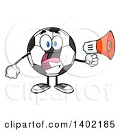 Clipart Of A Cartoon Soccer Ball Mascot Character Using A Megaphone Royalty Free Vector Illustration