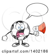 Clipart Of A Cartoon Soccer Ball Mascot Character Screaming Into A Megaphone Royalty Free Vector Illustration