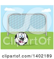 Clipart Of A Cartoon Soccer Association Football Goal And Soccer Ball Character Mascot On Grass Against Blue Sky Royalty Free Vector Illustration by Hit Toon