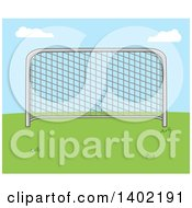 Clipart Of A Cartoon Soccer Association Football Goal On Grass Against Blue Sky Royalty Free Vector Illustration by Hit Toon