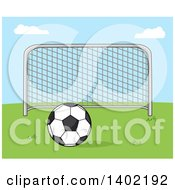 Clipart Of A Cartoon Soccer Association Football Goal And Soccer Ball On Grass Against Blue Sky Royalty Free Vector Illustration by Hit Toon