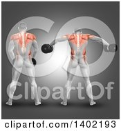 Clipart Of A Rear View Of A 3d Man Working Out With Dumbbells Doing Lateral Raises With Visible Muscles On A Gray Background Royalty Free Illustration