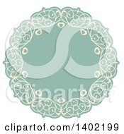 Beige And Turquoise Fancy Round Label Design Element With Hearts